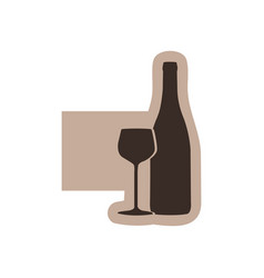 Color emblem with silhouette wine bottle and glass vector