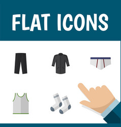 Flat icon clothes set of uniform foot textile vector