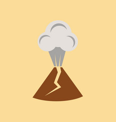 Flat icon on stylish background volcano erupting vector