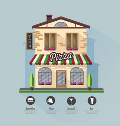Flat style modern icon design of pizza cafe vector
