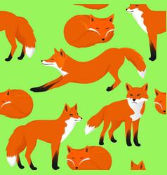 Fox cartoon seamless pattern vector