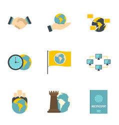 Global agreement icon set flat style vector