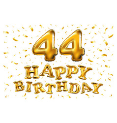 golden 44 number forty-four metallic balloon vector image