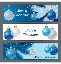 Holiday horizontal banners template with christmas vector
