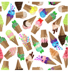 Ice cream cone seamless pattern flake and scoops vector