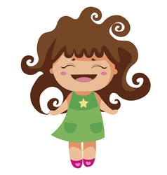 Kawaii cheerful curly baby-grl vector