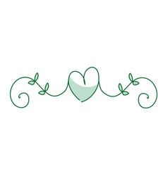 Leafs plant with heart decorative icon vector
