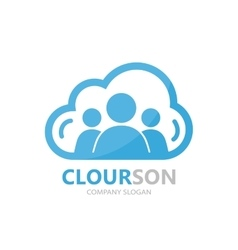 Logo combination of a cloud and people vector