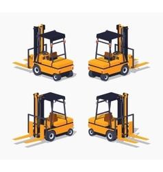Orange forklift truck vector