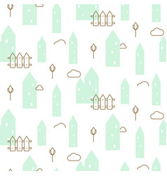 pastel mint houses baby fabric seamless vector image vector image