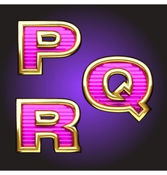 Pink letters with gold vector