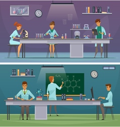 Scientists at work retro cartoon banners vector