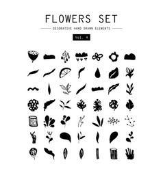 set decorative hand drawn elements vector image
