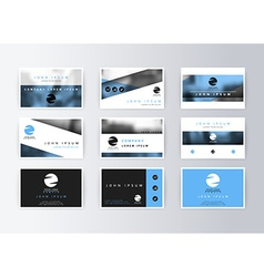 Set of business cards blue background Template vector image vector image