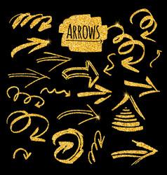 set of glitter golden arrows vector image vector image