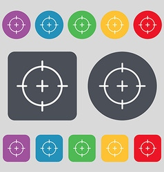 Sight icon sign a set of 12 colored buttons flat vector