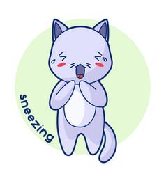Sneezing sick cute kitten of kawaii vector