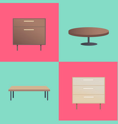 Stylish wooden furniture with smooth surfaces vector