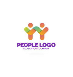 Support community logo consisting as two people vector