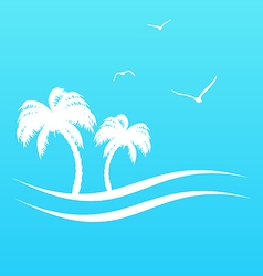 Tropical paradise background with palm trees and vector image vector image