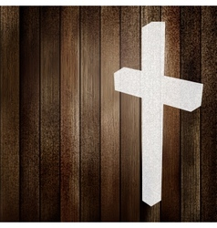 Wooden background with white cross EPS8 vector image vector image