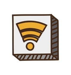 Yellow wifi icon vector