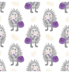Seamless pattern with hedgehog vector