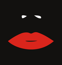 Red feminine lips and nose fashion black vector