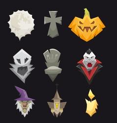 Set halloween icons vector image