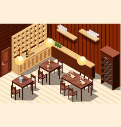 Wine restaurant isometric interior vector