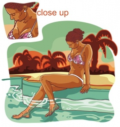 Girl in swimming pool vector