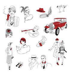 1920s retro collection vintage people and things vector