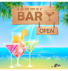Summer seaside view poster cocktails bar vector