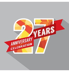 27th years anniversary celebration design vector