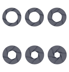 Set of black camera shutter icons on white vector