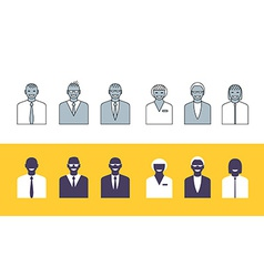 Business people simple avatars collection vector