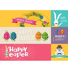 Happy easter flat design banners set vector