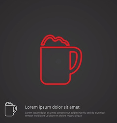 Cappuccino outline symbol red on dark background vector