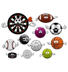Cartoon dartboard puck and sport balls vector