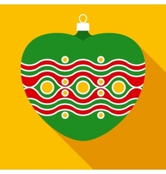 Green christmas bauble in flat style vector