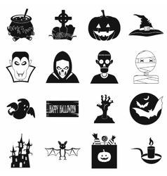 Halloween black simple icons vector