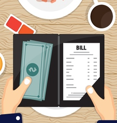 Bill pay with cash vector