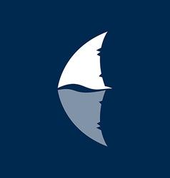shark fin logo sign on a dark background vector image
