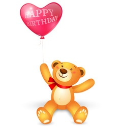 Cute teddy bear with in heart shape balloons vector