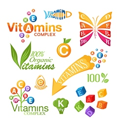 Vitamins icons for design vector