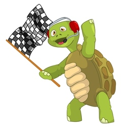 Funny turtle race finish vector