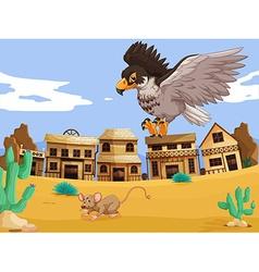 Eagle catching rat in desert vector image