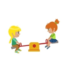 Girls on seesaw playground vector