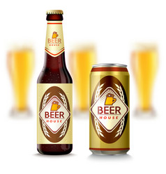 Beer Bottle And Can vector image