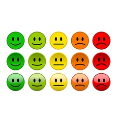 Mood level smile icons isolated vector